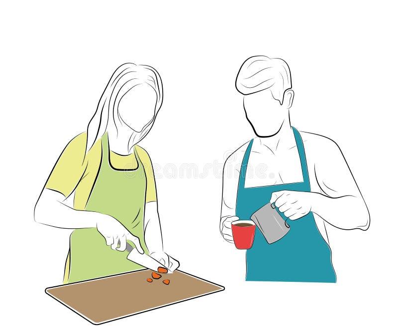 Homme et femme dans la cuisine il fait le café, elle fait cuire la nourriture Illustration de vecteur illustration de vecteur