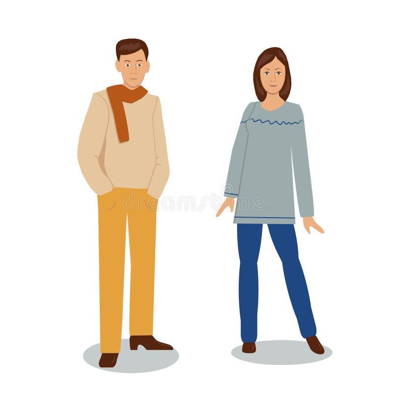 Homme et femme dans une robe élégante illustration stock