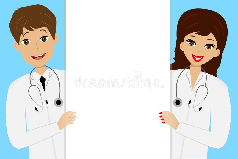 Homme et femme de deux jeune médecins sur le fond bleu illustration libre de droits