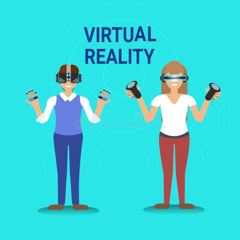 Homme et femme de jeu de réalité virtuelle portant la prise Gamepad en verre de Vr moderne illustration de vecteur