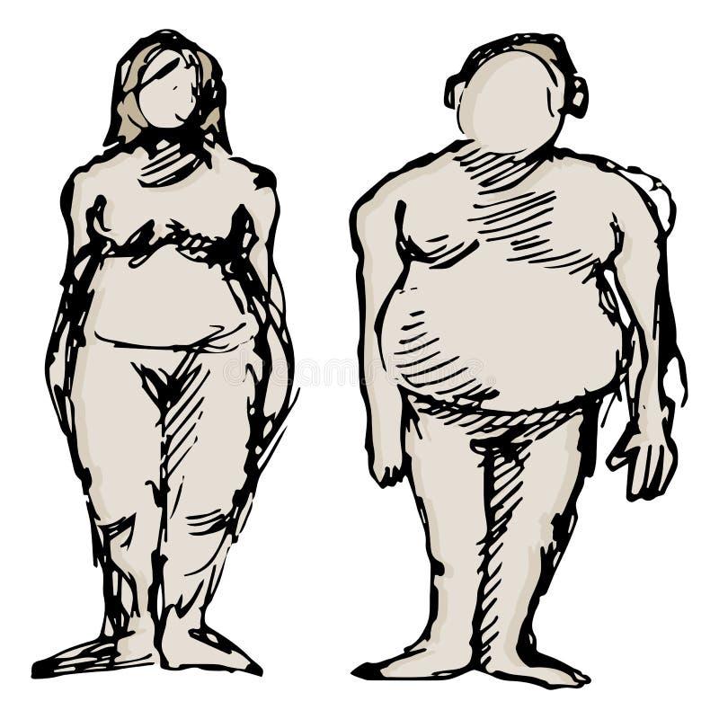 Homme et femme de poids excessif illustration libre de droits