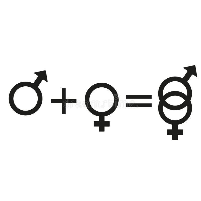 Homme et femme de signe Ensemble de symbole masculin et femelle illustration libre de droits