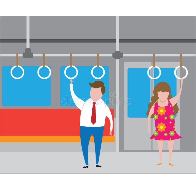 Homme et femme de transport se tenant dans le souterrain illustration de vecteur