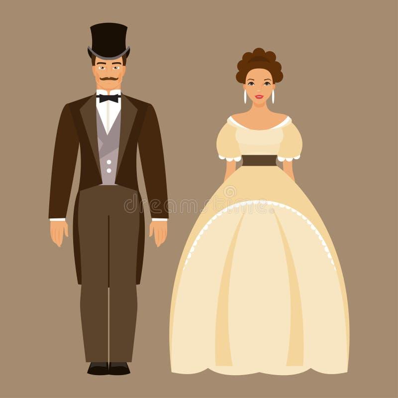 Homme et femme du 19ème siècle illustration stock