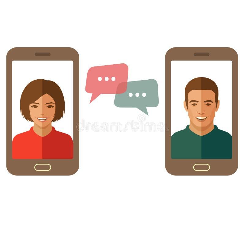 Homme et femme en ligne de causerie Causerie de couples à un téléphone portable illustration de vecteur