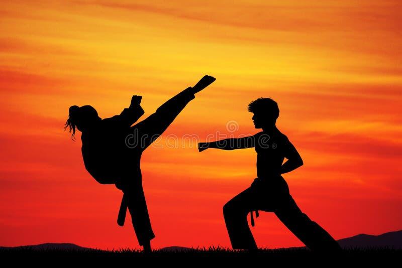 Homme et femme faisant le karaté au coucher du soleil illustration de vecteur