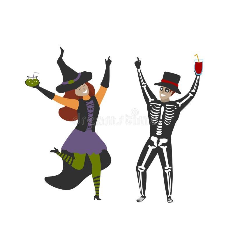 Homme et femme habillés dans des costumes de squelette et de sorcière de Halloween célébrant la partie illustration de vecteur