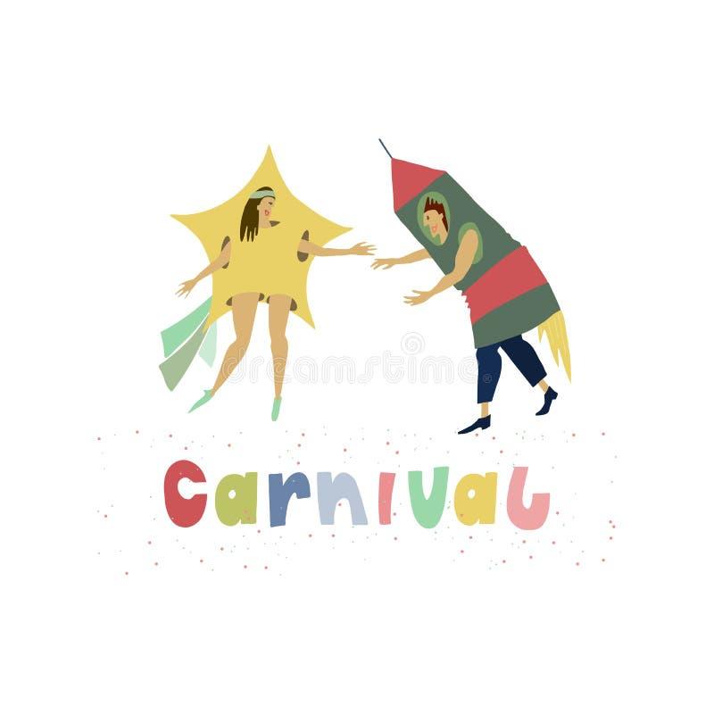 Homme et femme habillés dans des costumes drôles de carnaval de comète et de fusée d'espace Légende multicolore avec les confetti illustration stock
