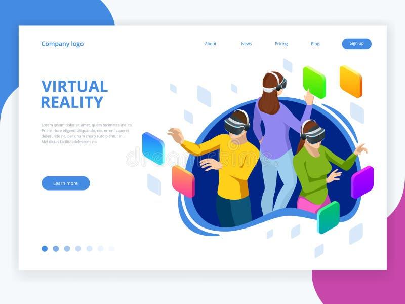 Homme et femme isométriques employant des verres d'une réalité virtuelle Instruments futuristes, concept de casque de réalité vir illustration stock
