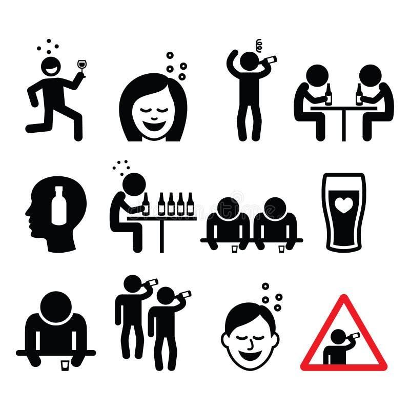 Homme et femme ivres, icônes potables d'alcool de personnes réglées illustration libre de droits