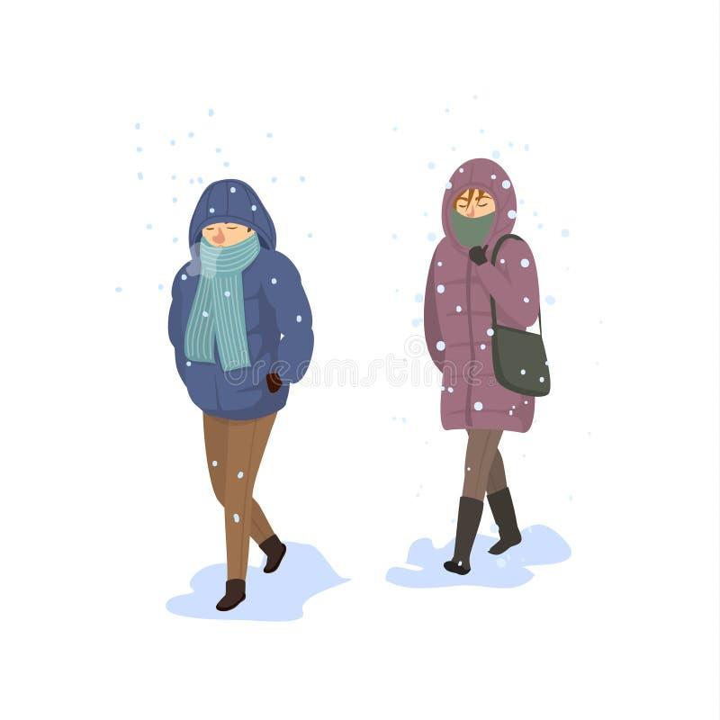 Homme et femme marchant sous la neige forte en baisse, hiver froid extrême illustration libre de droits