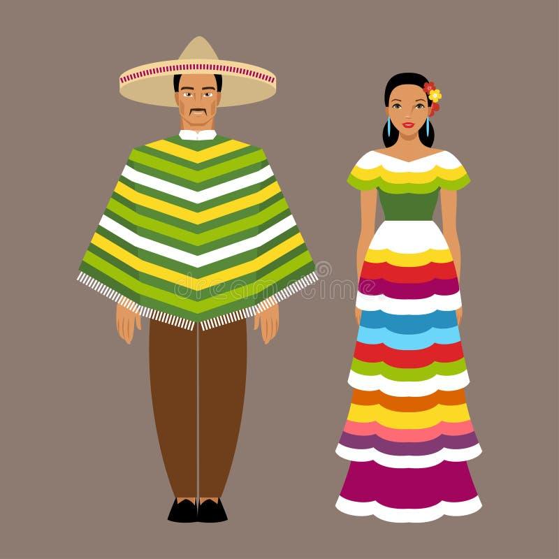 Homme et femme mexicains dans des vêtements traditionnels illustration stock