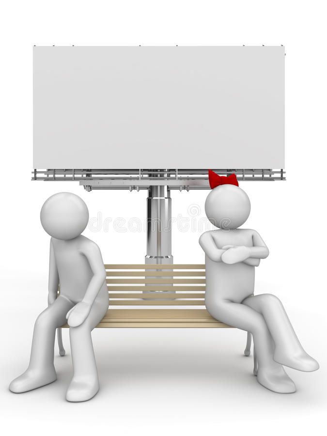 Homme et femme offensés sur un banc avec le copyspace image libre de droits