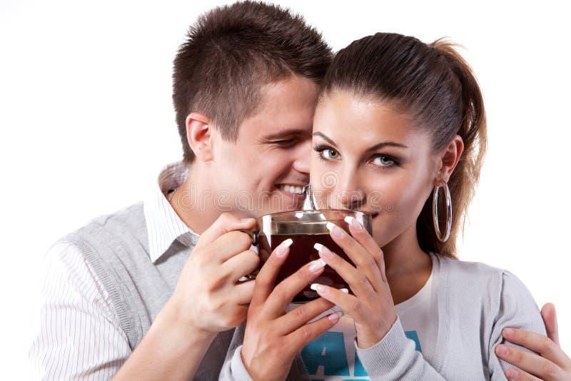Homme et femme potables de thé photo libre de droits