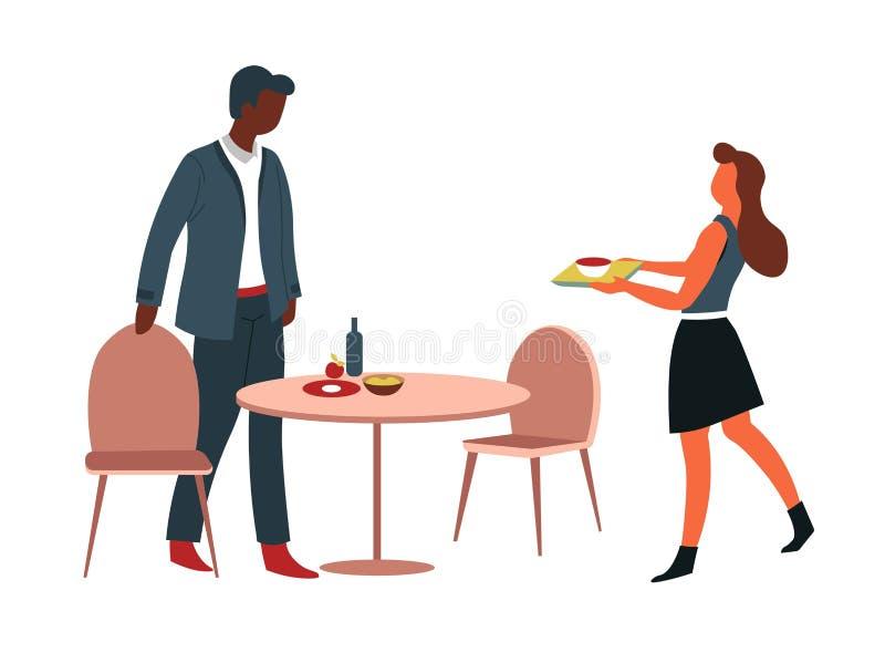 Homme et femme prenant le déjeuner à la table de cantine de bureau illustration libre de droits