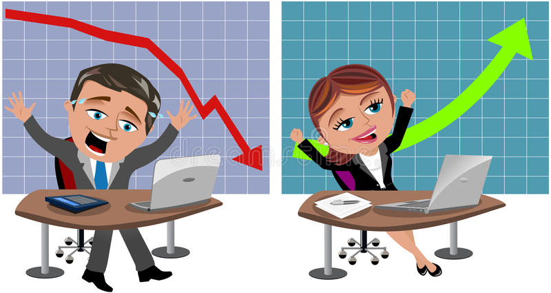 Homme et femme réussis et infructueux d'affaires illustration de vecteur