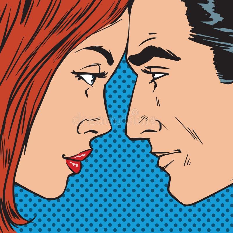 Homme et femme regardant l'un l'autre St de bandes dessinées d'art de bruit de visage rétro illustration de vecteur