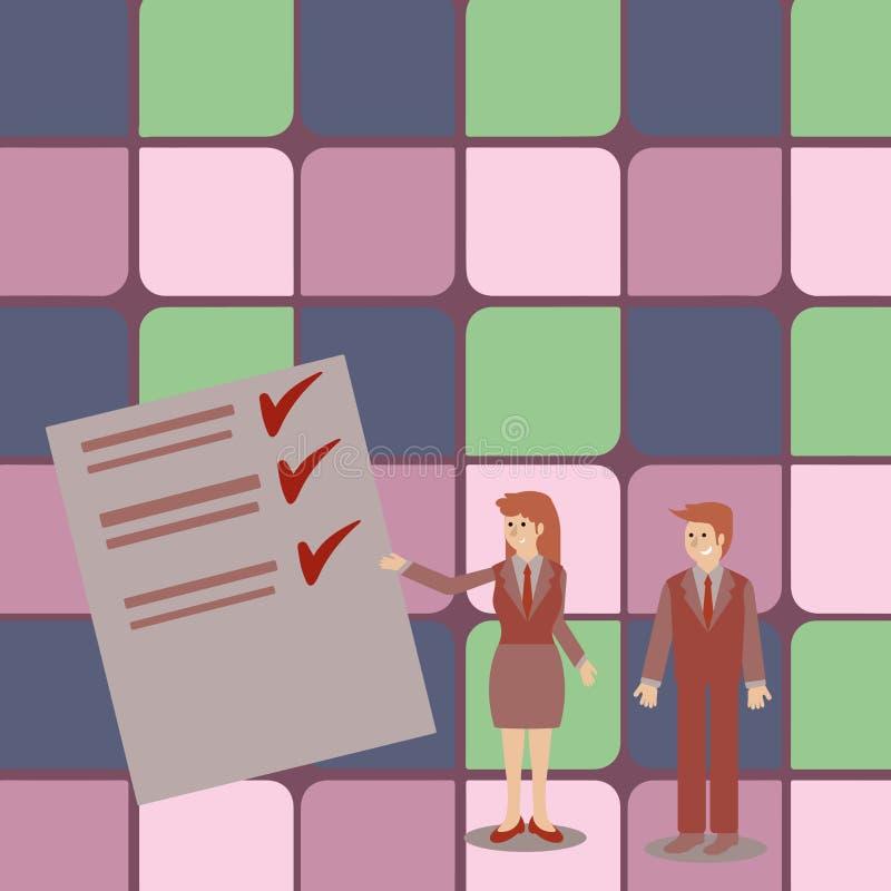 Homme et femme s?rs dans le costume tenant, faisant des gestes et pr?sentant le rapport de donn?es sur le conseil de couleur cr?a illustration de vecteur