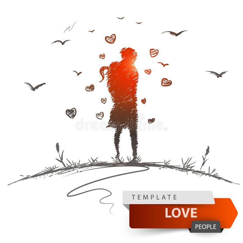 Homme et femme sur l'amour de pré illustration libre de droits