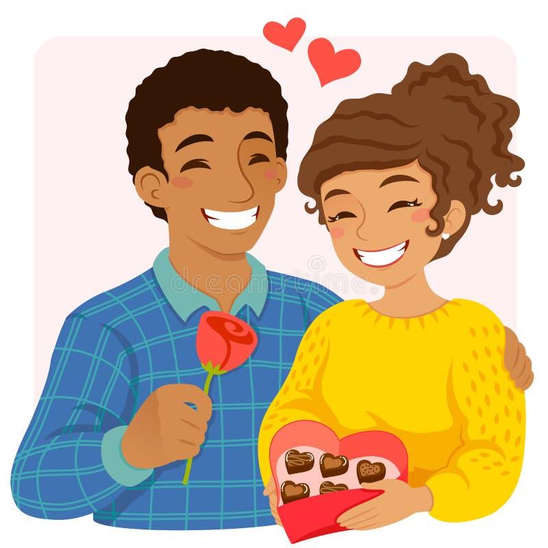 Homme et femme sur la fête de Noël illustration stock