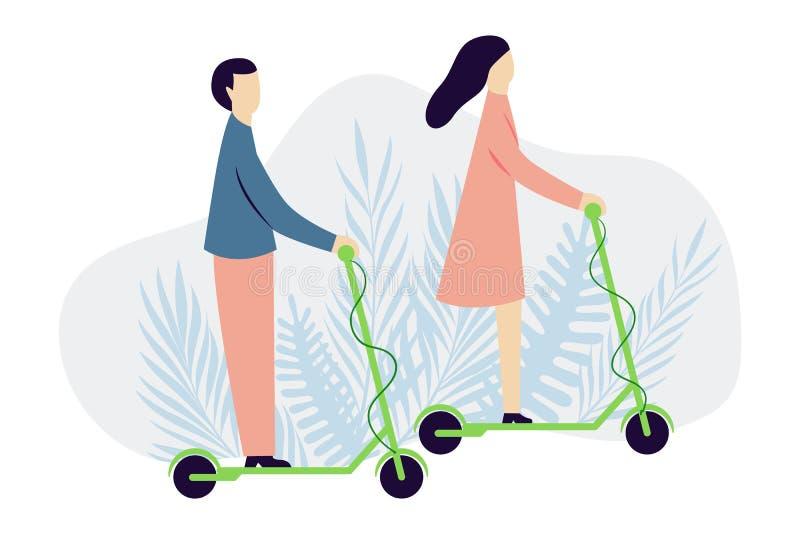 Homme et femme sur les scooters électriques Idée alternative de transport Concept de protection d'?cologie Illustratio plat moder illustration de vecteur