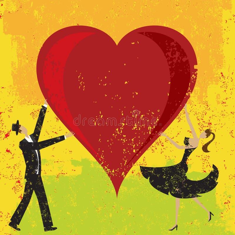 Homme et femme tenant un coeur illustration de vecteur