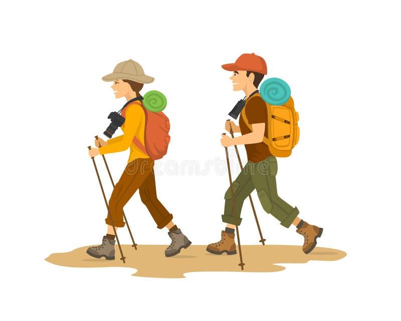 Homme et femme, trekking de déplacement de randonneurs de couples avec des sacs à dos illustration stock