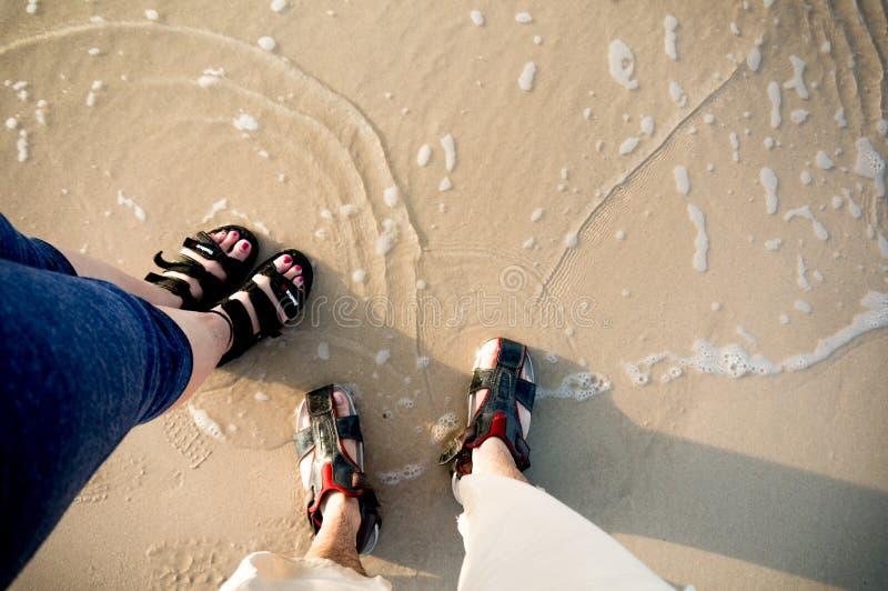 Homme et femmes dans des vagabonds de sandales se tenant en eau peu profonde sur une plage photographie stock libre de droits