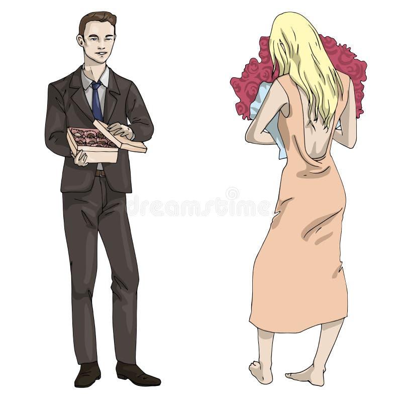 Homme et fille d'illustration de vecteur avec une boîte de sucreries et de fleurs illustration stock
