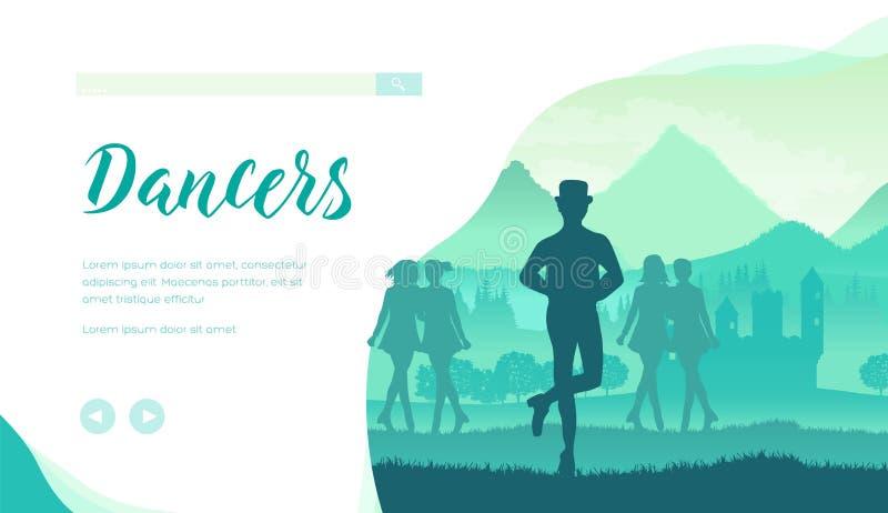 Homme et filles exécutant la danse traditionnelle irlandaise illustration stock