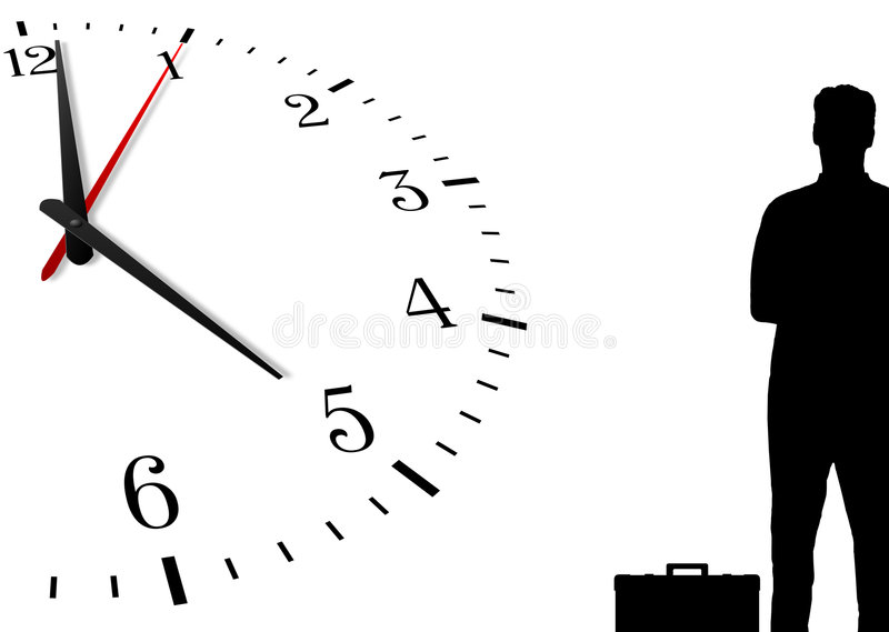 Homme et horloge silhouettés illustration libre de droits