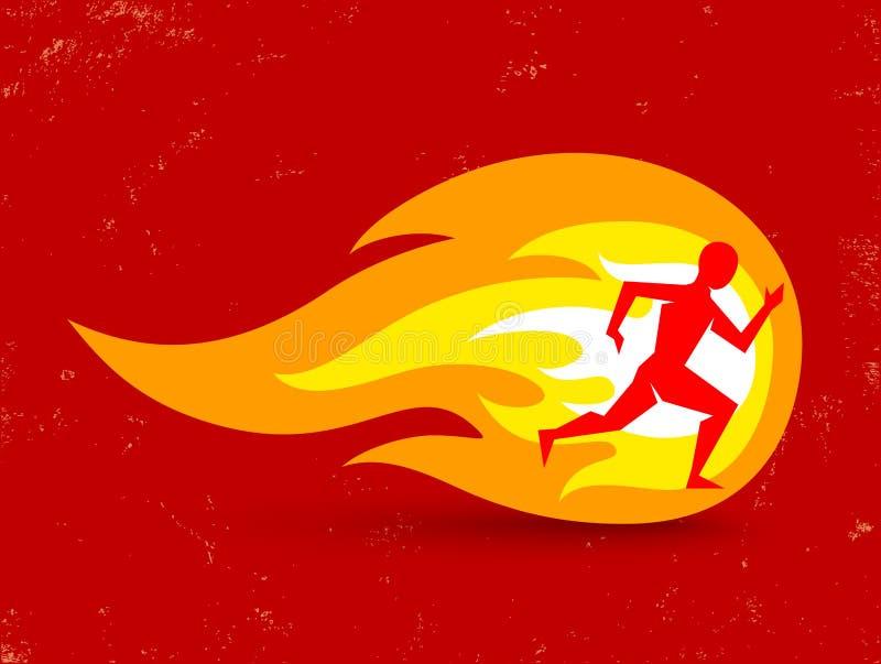 Homme et incendie illustration de vecteur