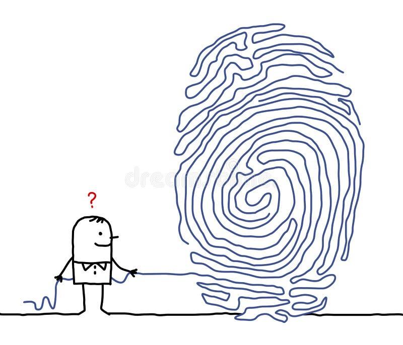Homme et labyrinthe d'empreinte digitale illustration libre de droits