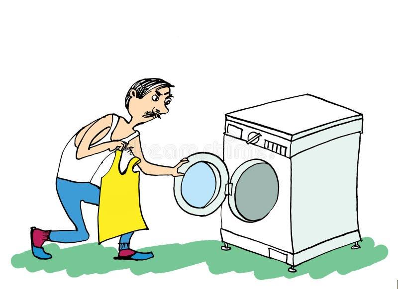 Homme et machine à laver Homme faisant la blanchisserie illustration libre de droits