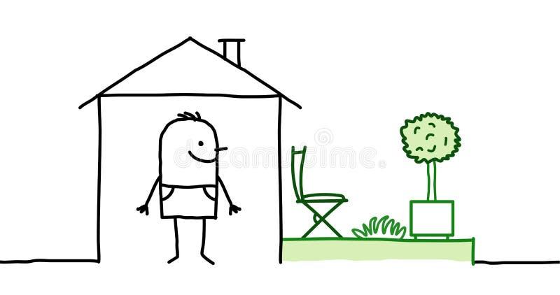 Homme et maison avec le jardin illustration de vecteur