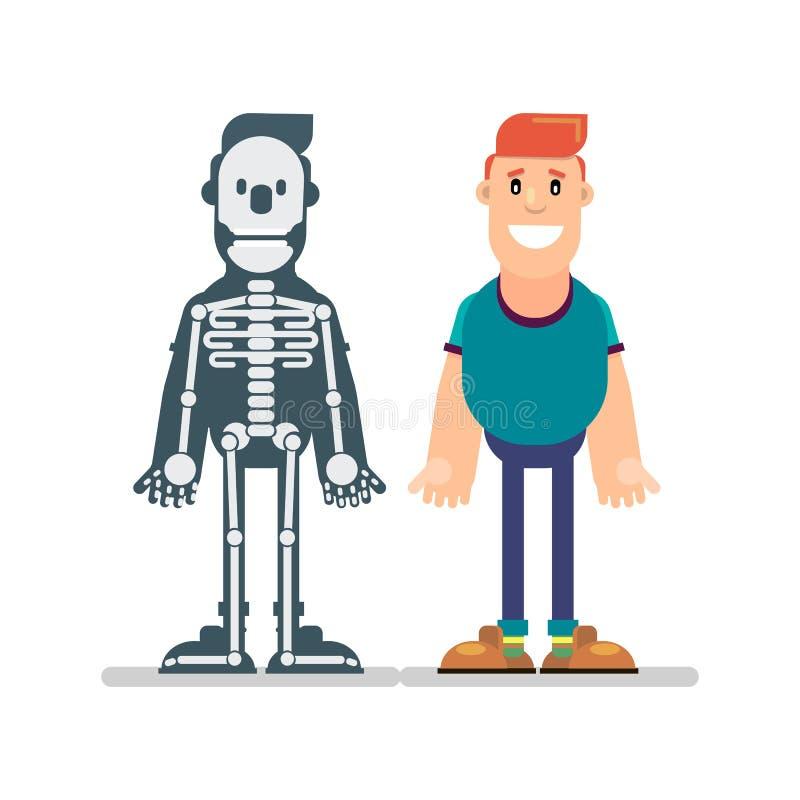 Homme et manuel d'anatomie illustration de vecteur