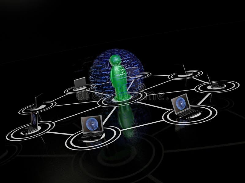 Homme et ordinateurs portables de Greeen illustration stock