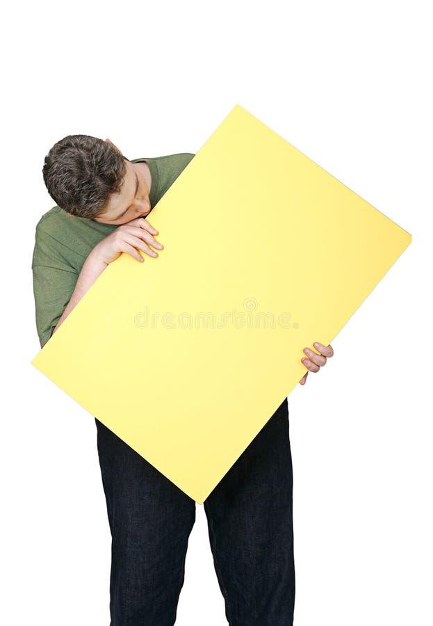 Homme et signe blanc photographie stock