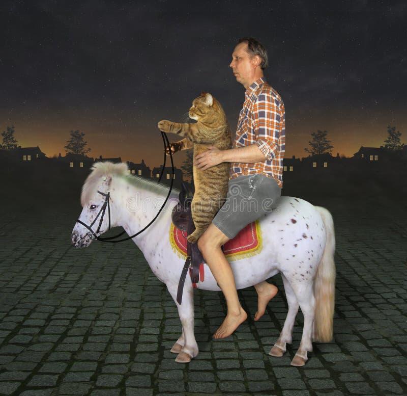 Homme et son chat sur le poney 2 photo libre de droits