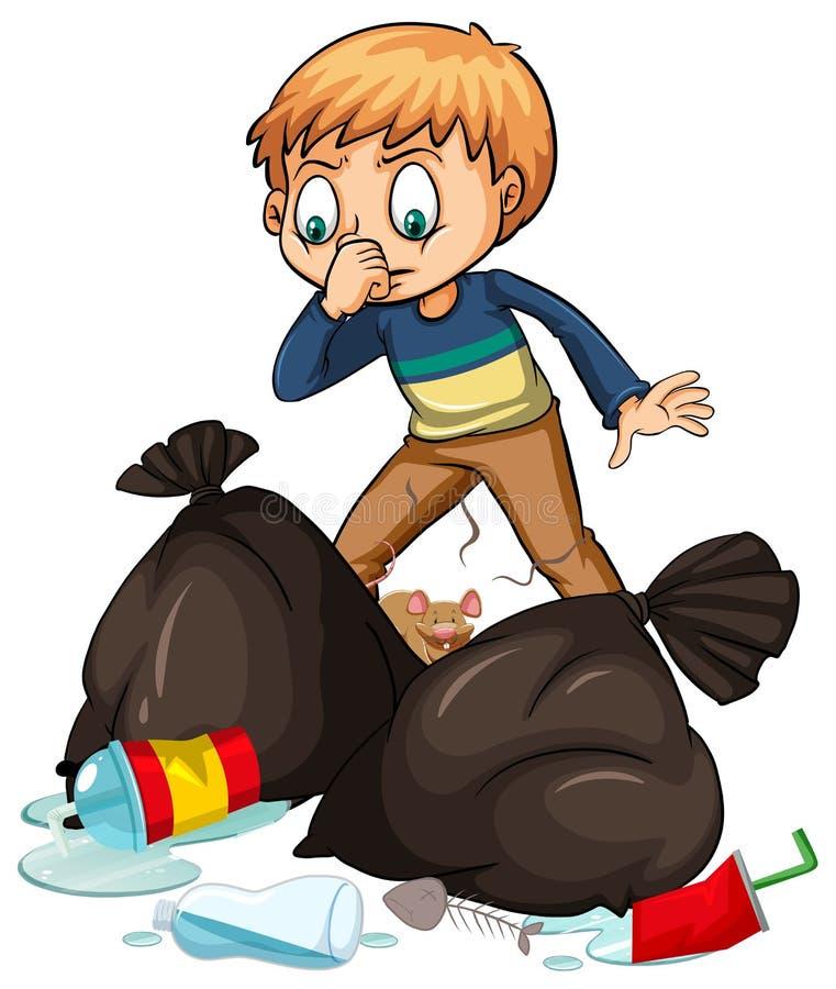 Homme et trashbags puants illustration stock
