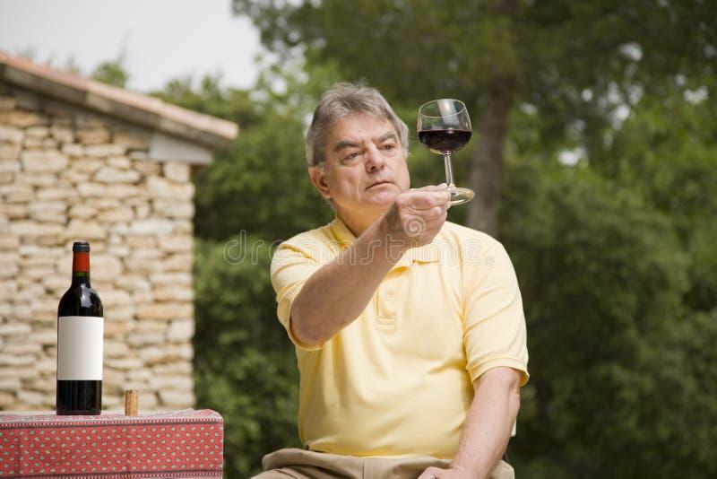 Homme et vin mûrs image stock