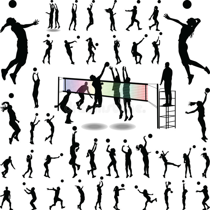 Homme et womam de volleyball illustration stock