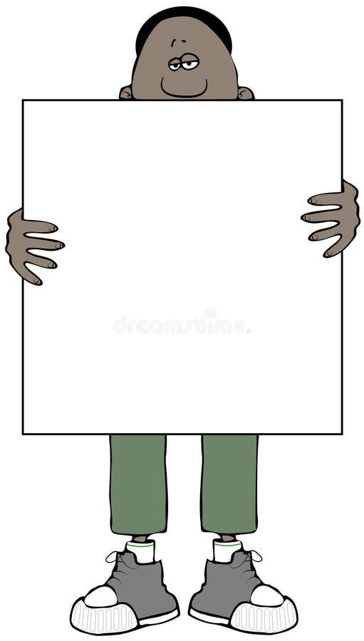 Homme ethnique tenant un grand signe vide illustration stock