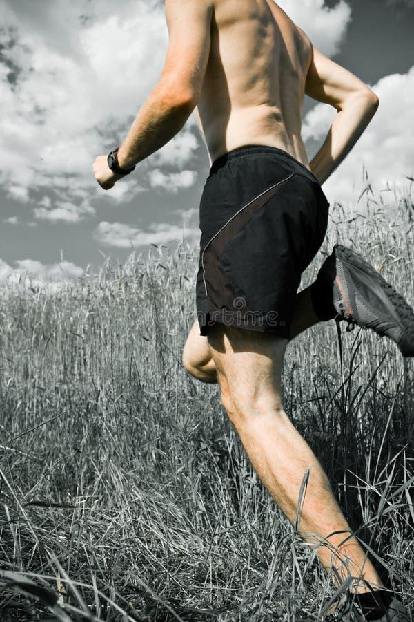Homme exécutant le pays en travers sur le journal photographie stock libre de droits