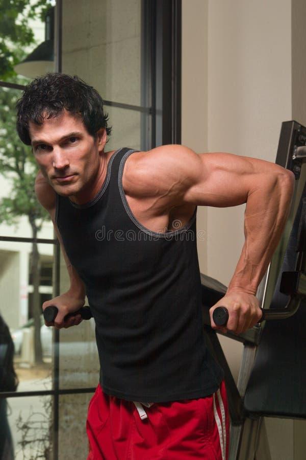 Homme exerçant des muscles de bras photo stock