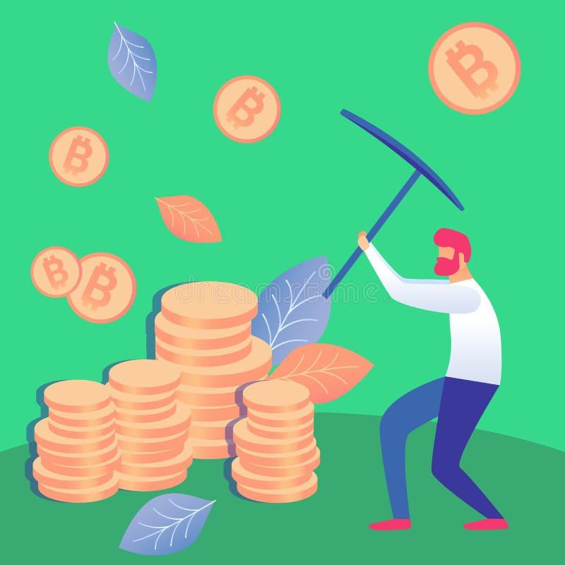 Homme extrayant l'illustration plate de vecteur de Cryptocurrency illustration libre de droits