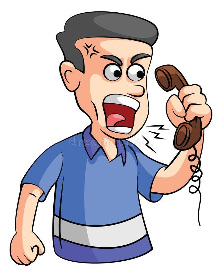 Homme fâché au téléphone illustration de vecteur