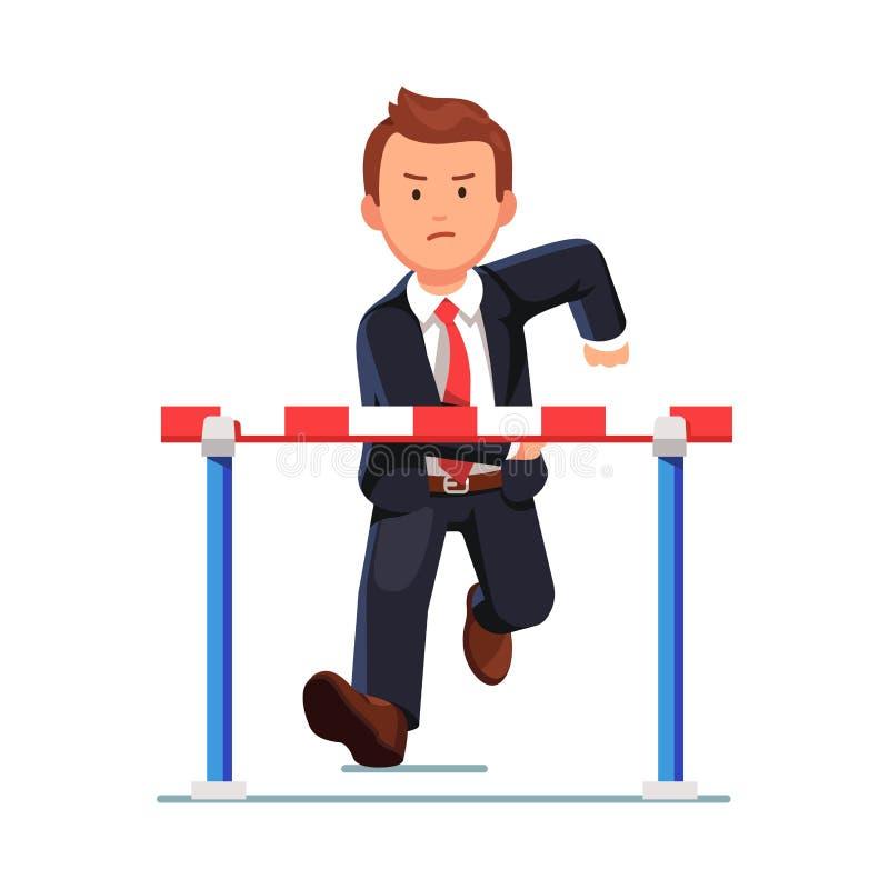 Homme fâché d'affaires courant à un obstacle de barrière illustration stock