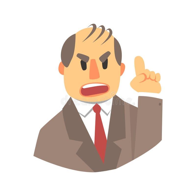 Homme fâché se dirigeant  Personnage de dessin animé coloré illustration libre de droits
