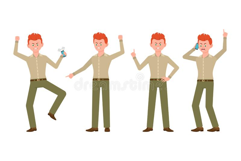 Homme fâché, soumis à une contrainte, désespéré, malheureux dans l'illustration verte de vecteur de pantalon Criant, dirigeant le illustration libre de droits